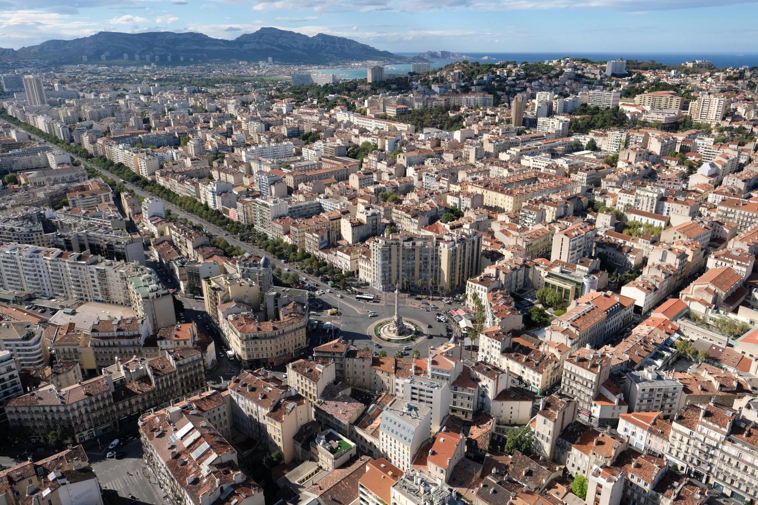 Vue aérienne place Castellane Marseille